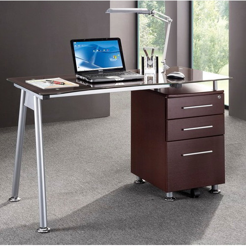 Computer Desk with Side Cabinet in Chocolate modern-home-office-products