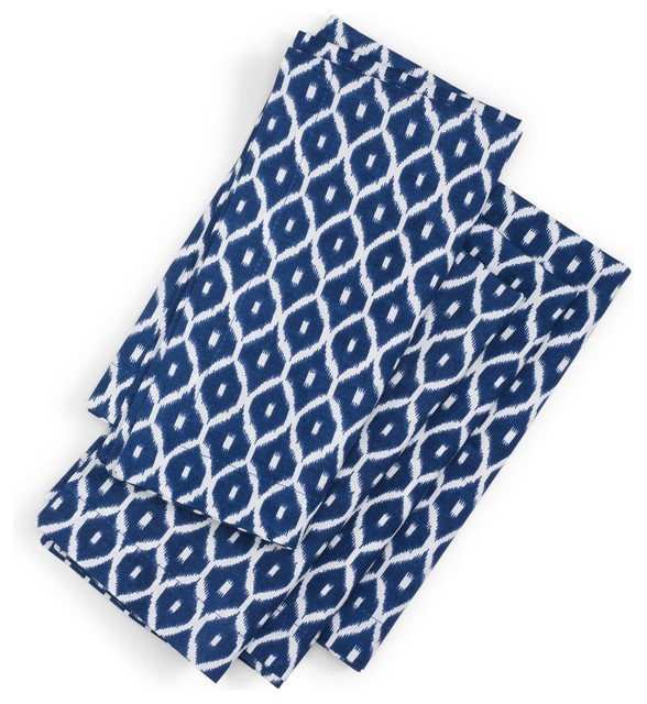 Ikat Cloth Napkins, Navy traditional table linens