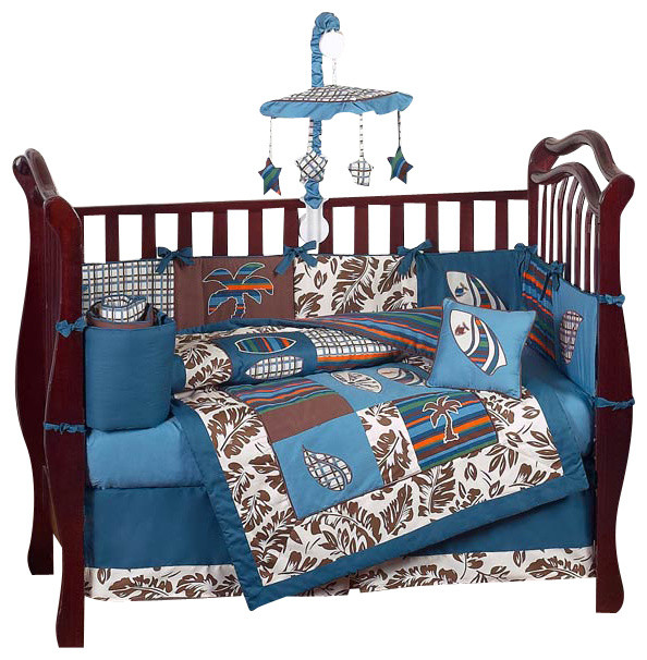 Surf Blue and Brown 9-Piece Crib Bedding Set contemporary-cribs