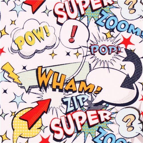 white Riley Blake retro comic super hero fabric - Fabric