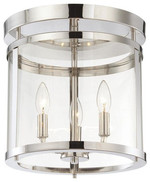 Three light clear glass polished nickel drum shade semi - Clear glass ceiling light ...