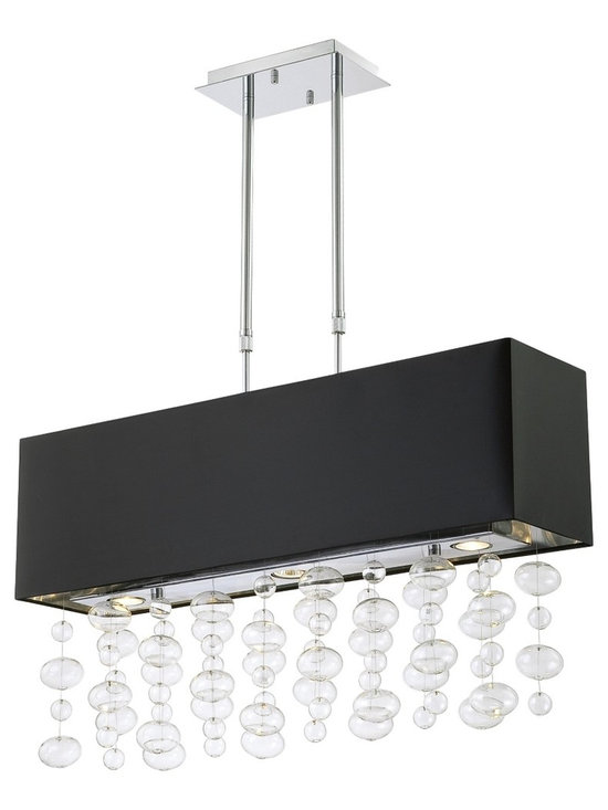 "Possini Euro Design - Possini Euro Design Bubble Cascade Rectangular Pendant - A fabulous large black chandelier design for above a banquet or dining table this stylish pendant is sure to add sparkle and drama. Cascades of clear glass bubbles are suspended below a black drum shade lined with reflective silver. Chrome finish hardware completes this contemporary look. Chrome finish. Glass globe strands. Black drum shade with silver lining. Takes four 60 watt standard bulbs (not included). And includes three 35 watts GU-10 halogen bulbs. 32"" wide. 8"" deep. Shade measures 9"" high by 7 3/4"" deep. Minimum of 28"" to maximum 37"" high. Telescopic rod system. Canopy is 8 1/2"" wide and 4 1/2"" deep.  Chrome finish.   Glass globe strands.   Black drum shade with silver lining.   A stylish large chandelier.  Takes four 60 watt standard bulbs (not included).  Includes three 35 watts GU-10 halogen bulbs   32"" wide.   7 3/4"""" deep.    Shade measures 9"" high.  Minimum of 28"" to maximum 37"" high.   Telescopic rod system.  Canopy is 8 1/2"" wide and 4 1/2"" deep."