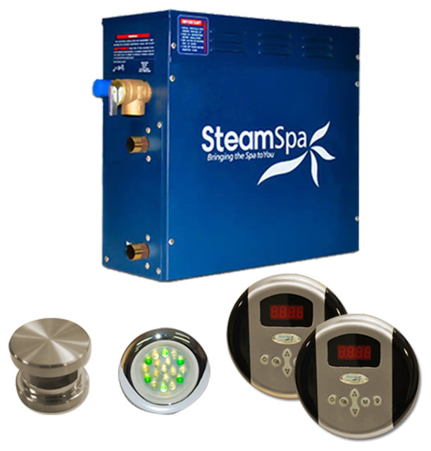 Steam Spa Royal Package for Steam Spa 4.5 KW Steam Generators in Brushed Nickel traditional-tub-and-shower-parts