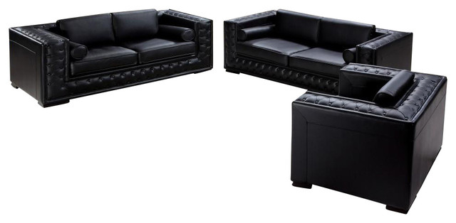 Dublin black top grain leather 3 piece sofa set with for 3 piece black modern sectional sofa