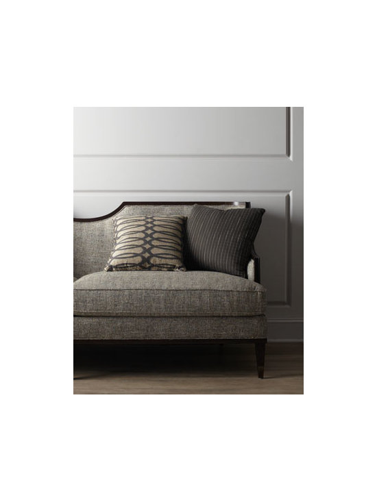 Horchow - Talecia Sofa - A sophisticated transformation of traditional design into a softer, transitional look, this intriguing sofa features a notched back and menswear upholstery to add inviting comfort to living spaces. Pine frame. Polyester upholstery. Finished back. 84...