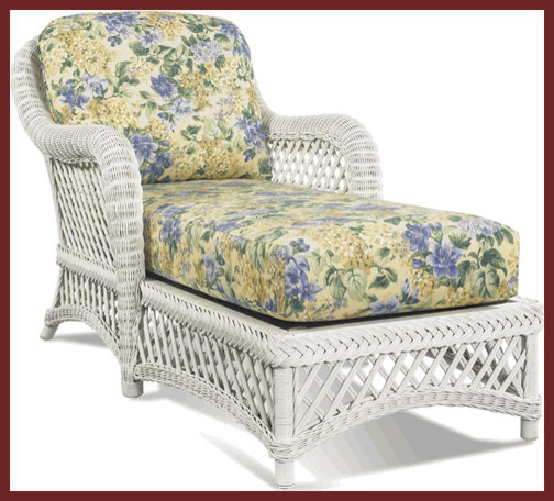 Lanai White Wicker Chaise traditional patio furniture and outdoor furniture
