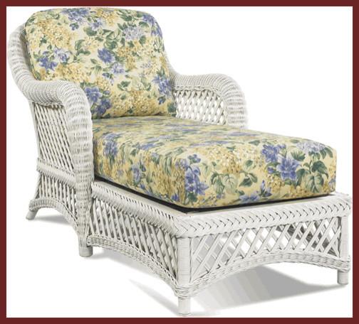 Lanai White Wicker Chaise Traditional Patio Furniture