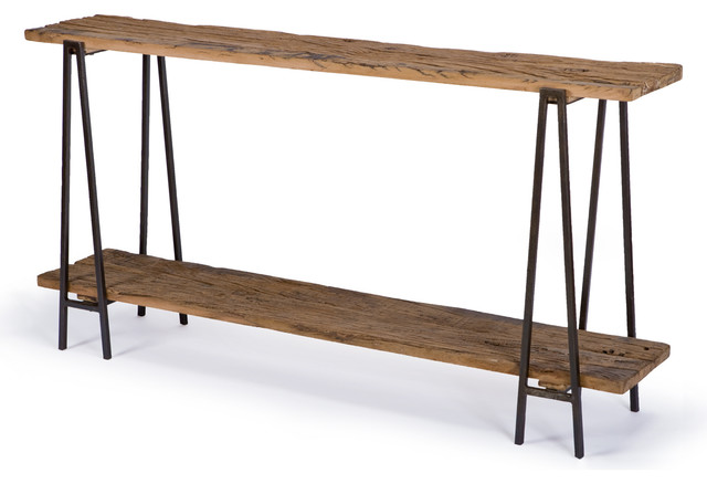 Bartlett rustic lodge wood metal rectangle console table Metal console table