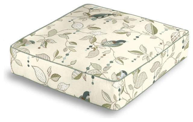 Floor Box Pillows : Aqua Country Bird Box Floor Pillow - Farmhouse - Pillows - by Loom Decor