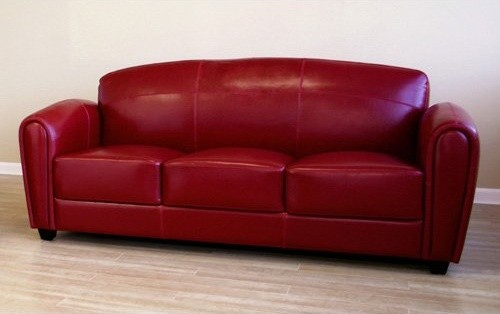 Wholesale Interiors Red Leather Sofa  Modern  Sofas  by Hayneedle 500 x 314