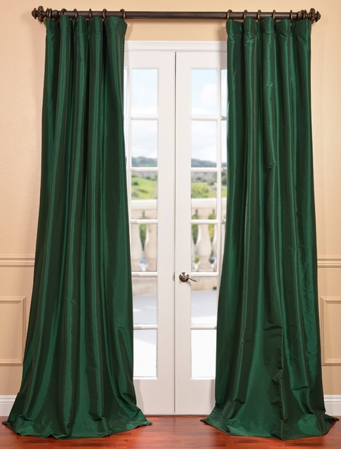 Emerald Green Faux Silk Taffeta Curtain - Contemporary - Curtains ...