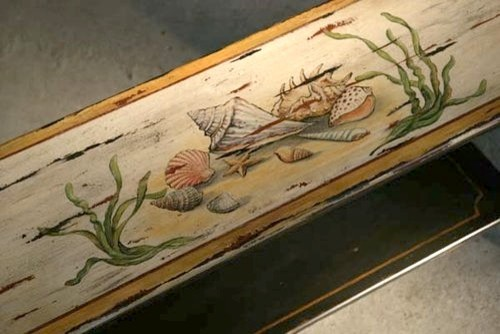 Coastal Style Sofa Table With Hand Painting Of Sea - traditional ...