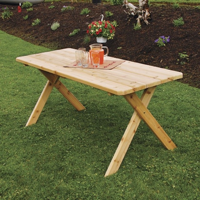 A & L Furniture Western Red Cedar Crossleg Table - 201C-UNFINISHED contemporary-outdoor-dining-tables