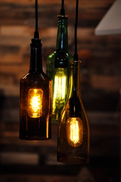 Wine bottle pendant lamp rustic-pendant-lighting