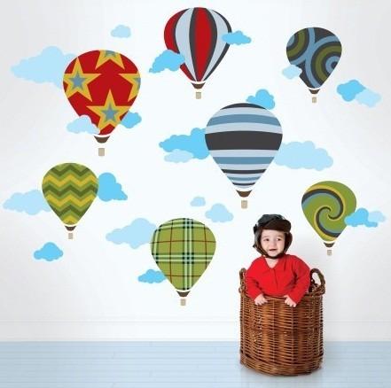 Wallcandy Arts Hot Air Balloon Wall Decal modern-kids-decor