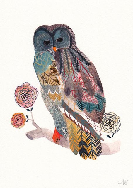 Blue Owl Archival Print by United Thread modern-artwork