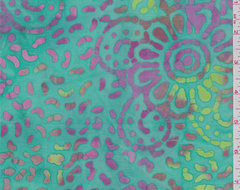 Aqua Green Floral Batik - 31460 - Fabric By The Yard At Discount Prices