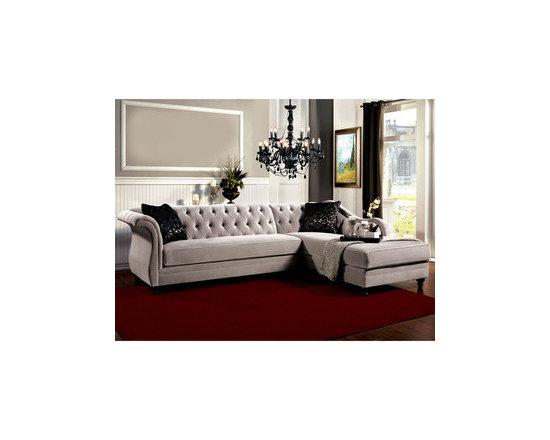 Furniture of America Elegant Aristocrat Tufted Grey Sectional -
