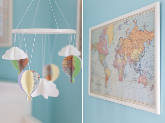 Dr. Seuss Inspired Travel Themed Nursery contemporary mobiles