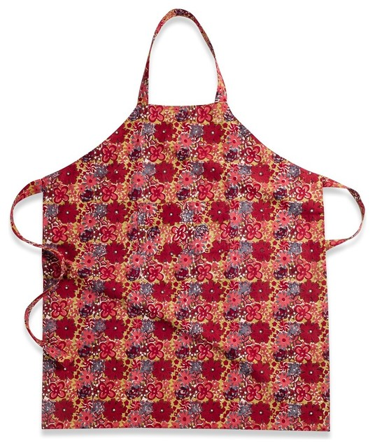 Candy Flower Apron, Red/Green traditional-aprons