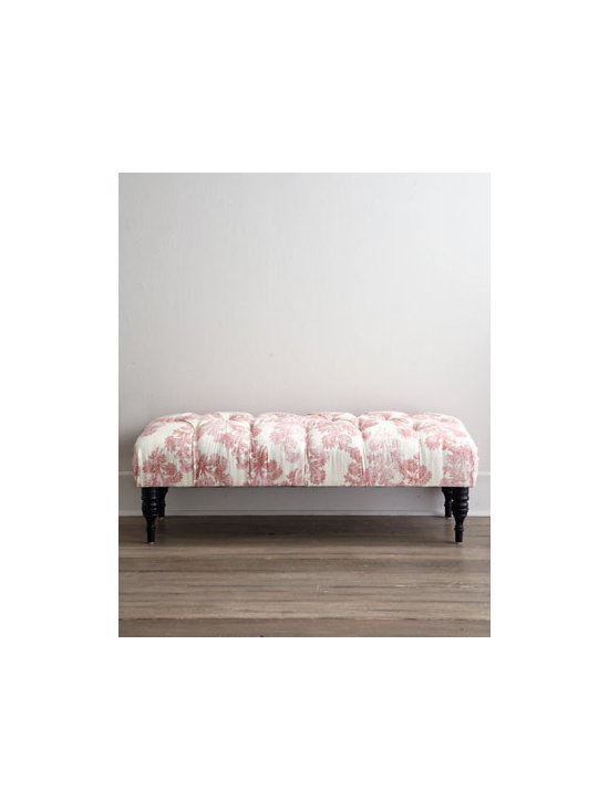 "Horchow - Ballerina Bench - Pretty in pink, this handcrafted bench features floral-motif upholstery, diamond tufting, and espresso-finished spindle legs. Pine frame. Linen upholstery. Plush polyurethane and polyester-fill foam padding. Supports up to 250 lbs. 49.5""W x 20""D x...."
