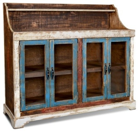 Rustic Distressed Reclaimed Wood Galvanized Top Sideboard/ Buffet/Curio Cabinet - Rustic ...
