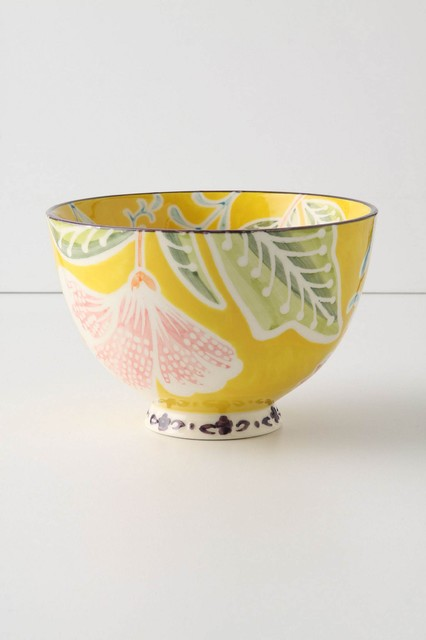 Flame Leaf Bowl, Yellow contemporary-serveware