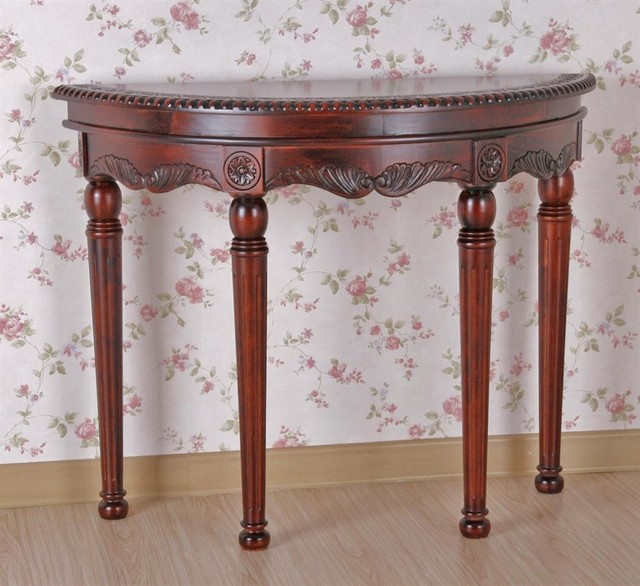 Half Round Carved Wood Console Table Contemporary