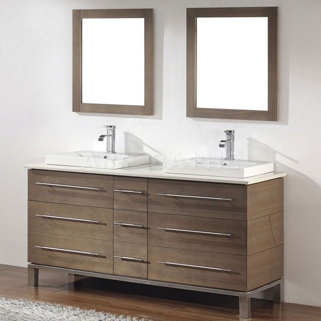 Smoked Ash Bathroom Vanity Contemporary Bathroom Vanities And Sink