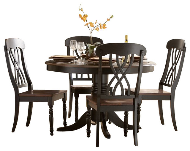 Homelegance Ohana 5 Piece Round Dining Table Set in Black  : transitional dining sets from houzz.com size 640 x 508 jpeg 69kB