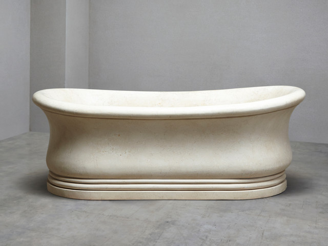 Luxury Crema Marble Bath traditional-bathtubs