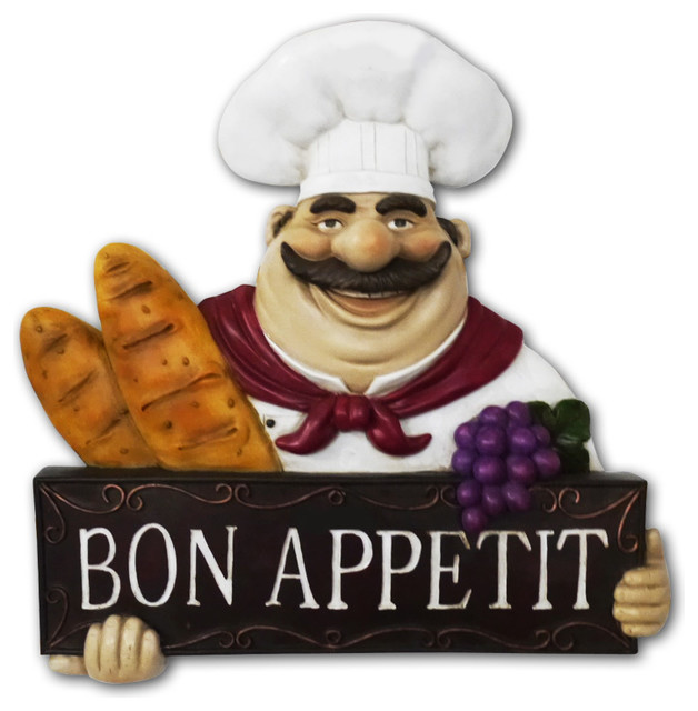 fat chef kitchen statue bon appetit wall plaque wall art