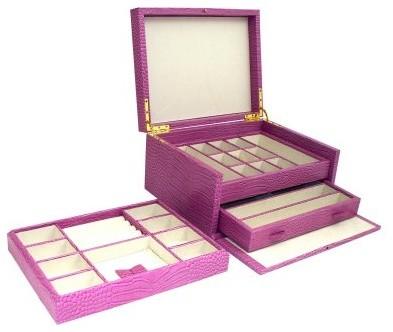 Pink Croco Leather Jewelry Box - 11.75W x 6H in. modern-home-decor