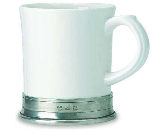 "Match - Match Convivio Mug- set of two - The generous volume of this porcelain and pewter mug makes it ideal for that large mug of morning coffee or tea. The slight fluting of ceramic at the lip make it feel sip-friendly. All Match Pewter dinnerware is lead free, food safe, and dishwasher safe at low temperatures. Measures 4"" in height."
