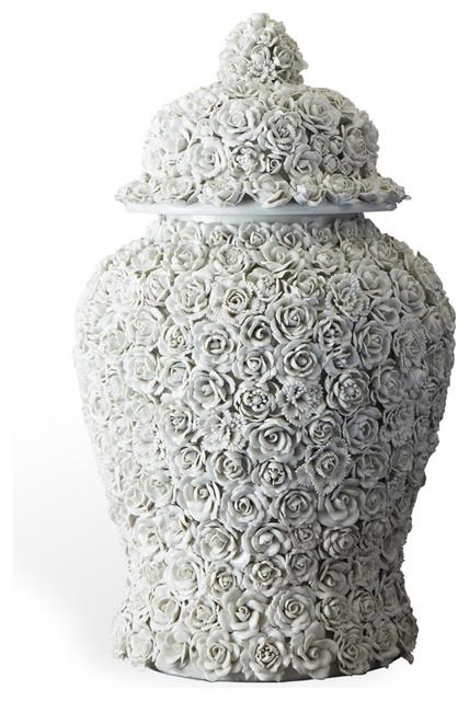 Large Sculpted Ceramic Applique Porcelain Lidded Temple Jar transitional-vases