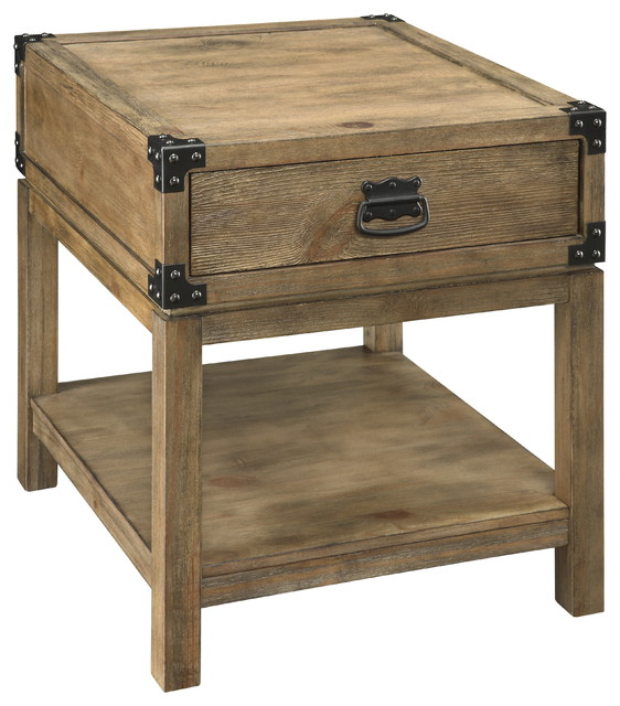 Trunk End Table Carmel Burnished Natural Rustic Side