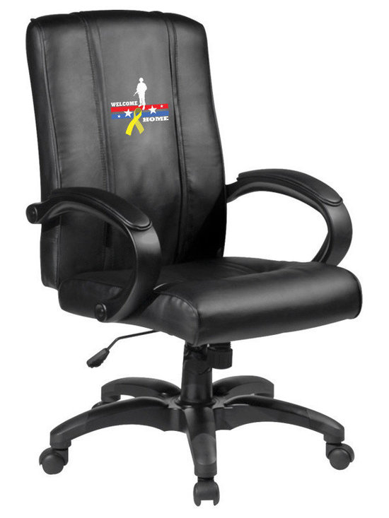 Dreamseat Inc. - Welcome Home Soldier Home Office Chair - Check out this Awesome - it's one of the coolest things we've ever seen. Features a zip-in-zip-out logo panel embroidered with 70,000 stitches. Converts from a solid color to custom-logo furniture in seconds - perfect for a shared or multi-purpose room. Root for several teams? Simply swap the panels out when the seasons change. This is a true statement piece that is perfect for your Man Cave or Home Office, and it's a must-have for the person who wants to personalize their work space.