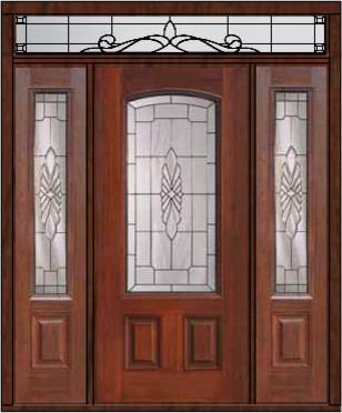 Prehung Sidelights Transom Door 80 Fiberglass Versailles Arch Lite Mediterr