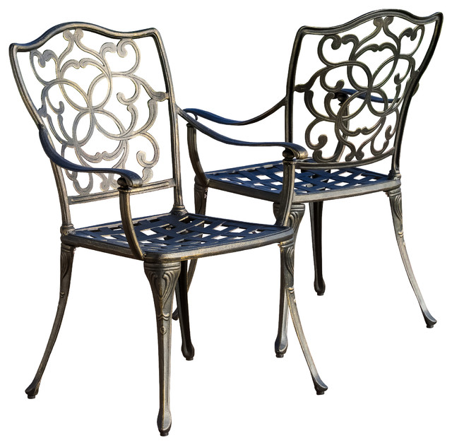 Venecia Outdoor Cast Aluminum Dining Chairs Set of 2