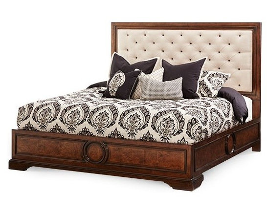 AICO Furniture - Bella Cera 5 Piece Queen Fabric Tufted Panel Bedroom Set with B - Set includes Queen Bed, Nightstand, Dresser, Bachelor's Chest and Wall Mirror
