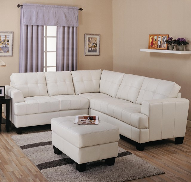 Samuel Contemporary 3 Piece Leather Sectional Sofa By