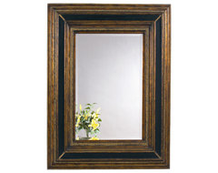 Gold-Black Rectangle Wall Mirror traditional-mirrors