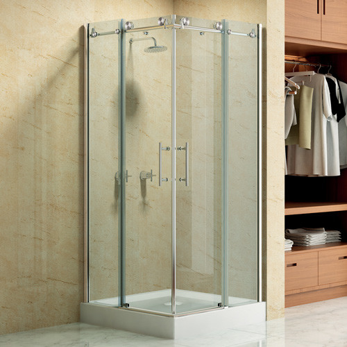 "36"" x 36"" Square Frameless Corner Shower Enclosure With Dual Sliding Doors - Contemporary ..."