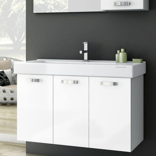 40 inch vanity cabinet with fitted sink contemporary - Bathroom vanities 32 inches wide ...