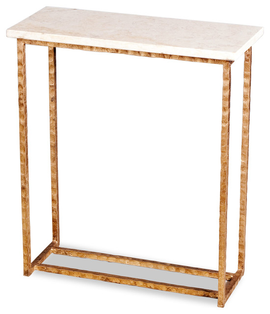 Edland Modern Gold Leaf Cream Marble End Table Contemporary Side