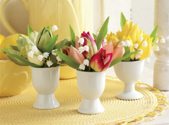 Potted Tulip Egg Cups contemporary-indoor-pots-and-planters