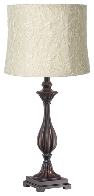 Traditional White Lace Candlestick Table Lamp traditional-table-lamps