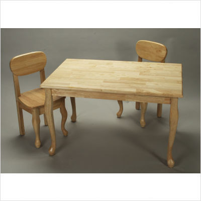 Gift Mark Queen Anne Rectangular Kids Table and Chair Set in Natural modern kids tables