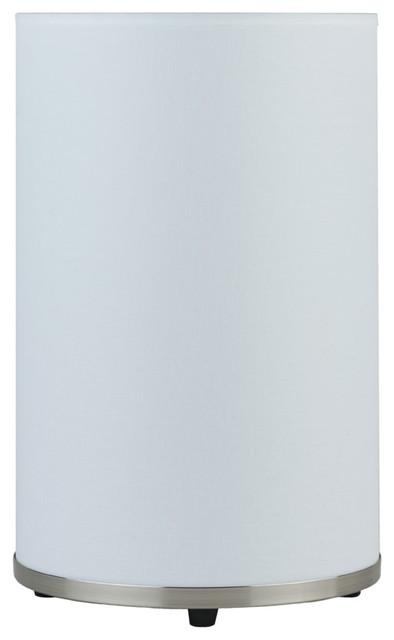 Meridian Medium Table Lamp, White Linen Shade modern-table-lamps