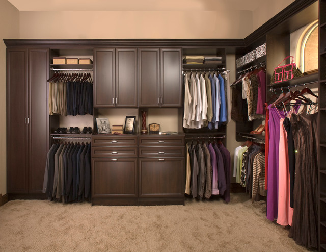 Custom walk in closet organizers chocolate pear Pictures of closet organizers